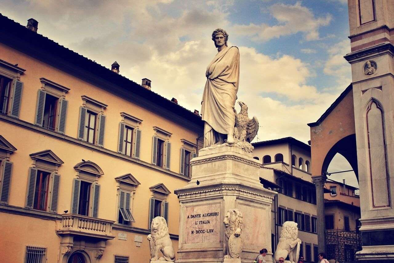 Statue of Dante Alighieri, who created the modern Italian language